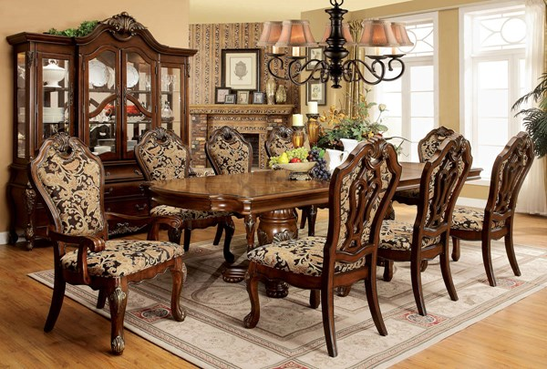 Vicente Traditional Cherry Fabric Solid Wood Dining Room Set FOA-CM3243-DR
