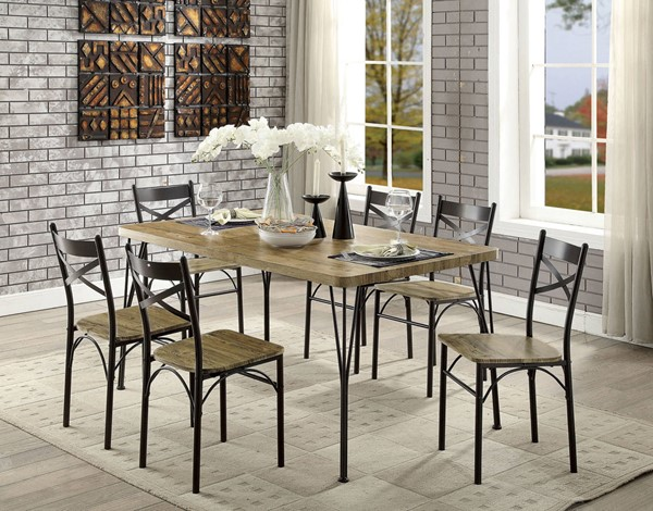 Furniture of America Banbury Antique Brown 7pc Dining Set FOA-CM3279T-60-7PK