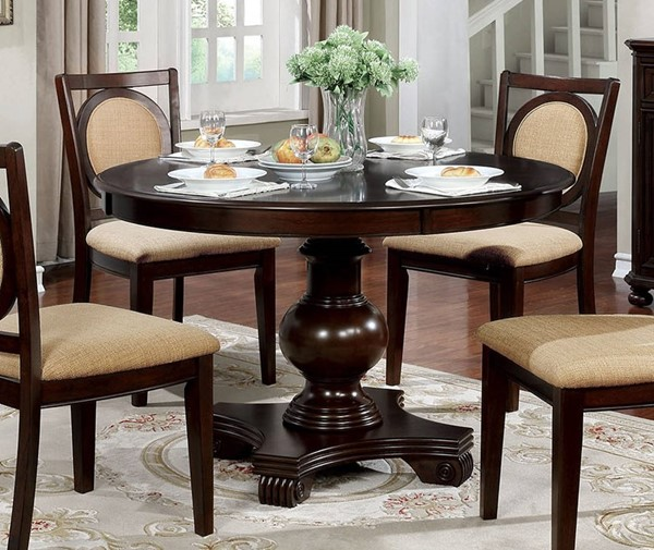Furniture of America Abergele Brown Cherry Round Dining Table FOA-CM3306RT-TABLE