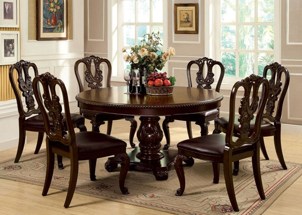 Furniture of America Bellagio Round Dining Table FOA-CM3319RT-TABLE
