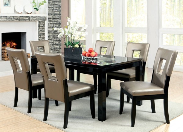 Evant I Black Solid Wood Mirror Pewter Leatherette Dining Room Set FOA-CM3320-DR