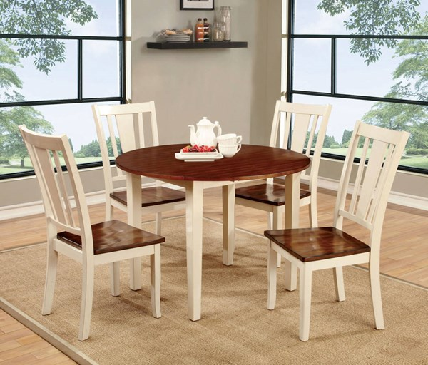 Furniture of America Dover II White Cherry Drop Leaf Round Table FOA-CM3326WC-RT