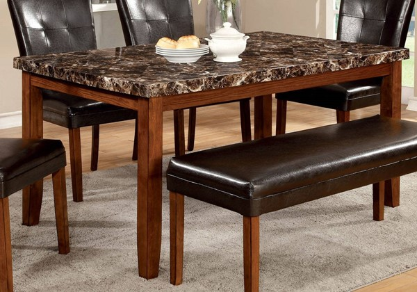 Furniture of America Elmore Faux Marble Top Dining Table FOA-CM3328T