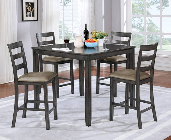 Furniture of America Gloria 5pc Counter Height Table Set FOA-CM3331GY-PT-5PK