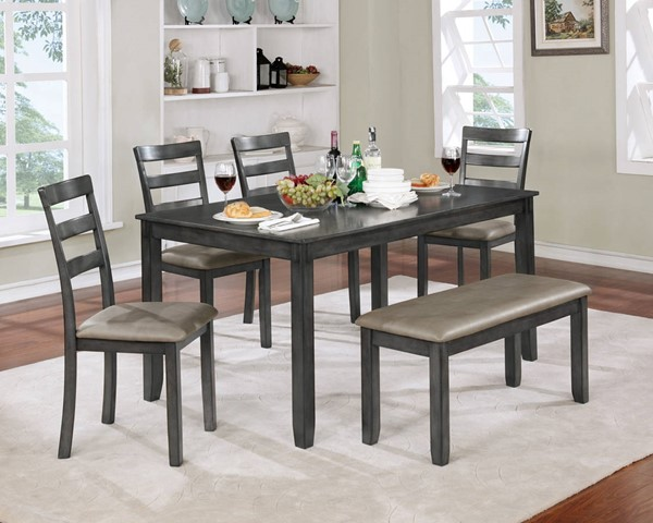 Furniture of America Gloria Gray 6pc Dining Table Set FOA-CM3331GY-T-6PK
