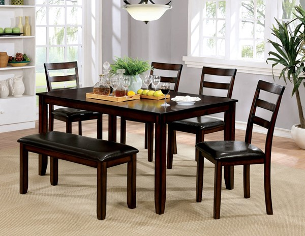 Furniture of America Gloria Brown Cherry 6pc Dining Table Set FOA-CM3331T-6PK
