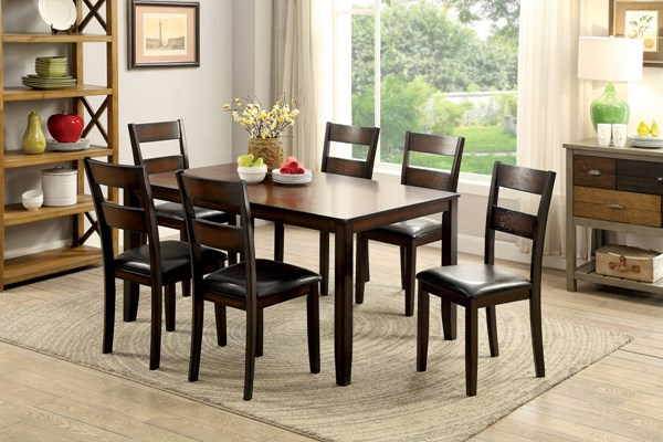 Norah I Transitional Brown Cherry Solid Wood 7pc Dining Room Set FOA-CM3351T-7PK