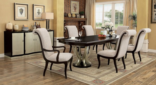 Ornette Espresso Solid Wood Champagne Fabric Dining Room Set FOA-CM3353-DR