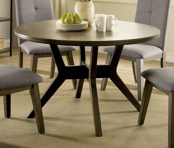 Furniture of America Abelone Light Gray Round Dining Table FOA-CM3354GY-RT