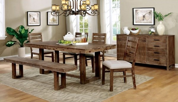 Lidgerwood Traditional Natural Tone Solid Wood Fabric Dining Room Set FOA-CM3358-DR