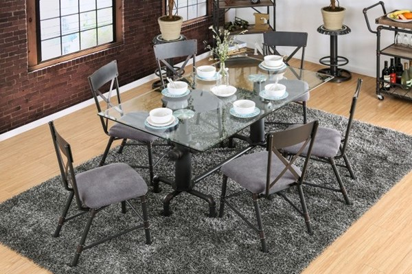 Flaherty I Antique Black Metal Gray Fabric Dining Room Set FOA-CM3366-DR