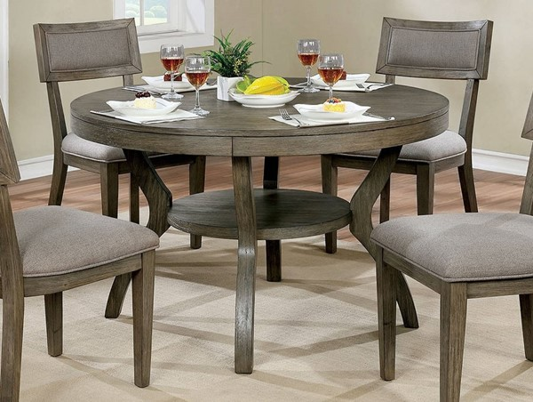 Furniture of America Leeds Gray Round Dining Table FOA-CM3387RT