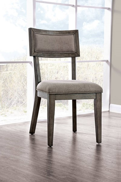 2 Furniture of America Leeds Gray Side Chairs FOA-CM3387SC-2PK