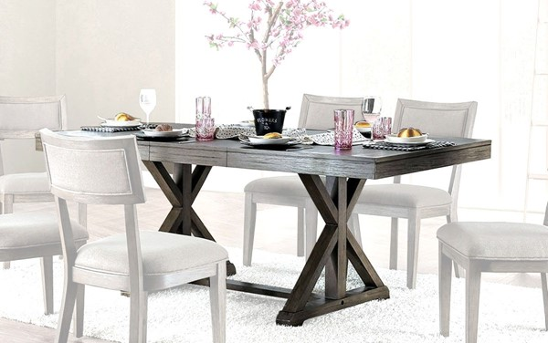 Furniture of America Leeds Gray Dining Table FOA-CM3387T-TABLE