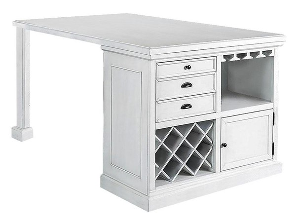 Furniture of America Sutton Antique White Counter Height Table FOA-CM3390PT-TABLE