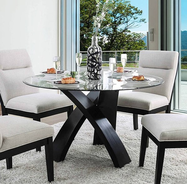 Furniture of America Jasmin Black Dining Table FOA-CM3393RT-TABLE