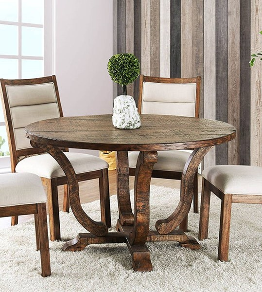 Furniture of America Isabelle Antique Oak Round Dining Table FOA-CM3395A-RT