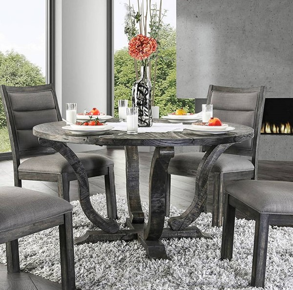 Furniture of America Isabelle Antique Gray Round Dining Table FOA-CM3395GY-RT