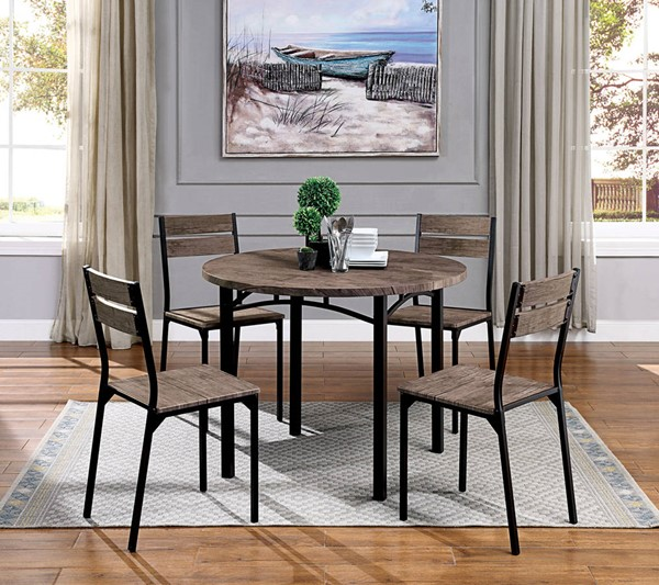Furniture of America Meade Antique Brown 5pc Round Dining Room Set FOA-CM3397RT-5PC
