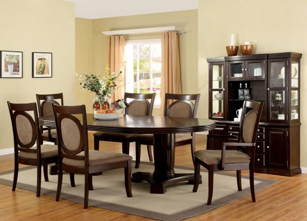 Evelyn Contemporary Walnut Solid Wood Fabric Dining Room Set FOA-CM3418-DR