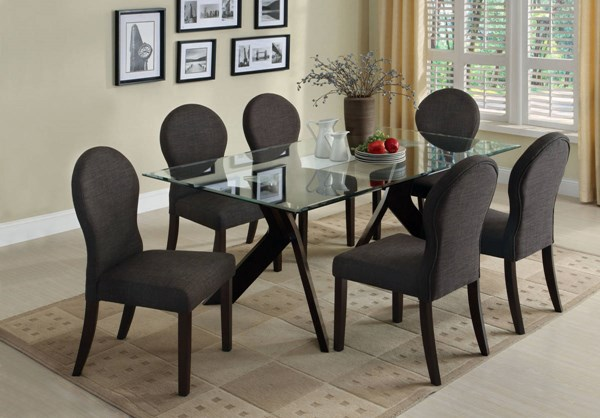 Grand View I Espresso Solid Wood Fabric Glass Dining Room Set FOA-CM3425-DR