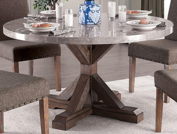 Furniture of America Bridgen Natural Round Dining Table FOA-CM3429RT-TABLE