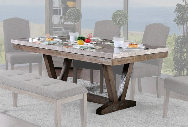 Furniture of America Bridgen Natural Dining Table FOA-CM3429T