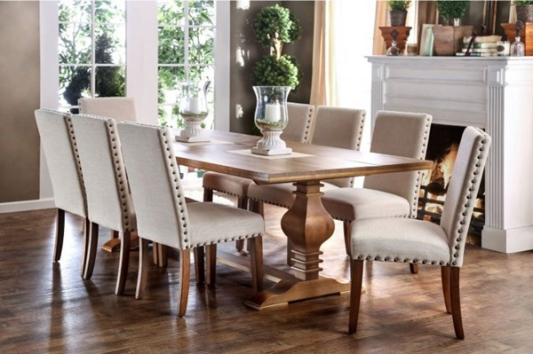 Macapa Transitional Natural Tone Oak Solid Pine Wood Dining Room Set FOA-CM3441-DR