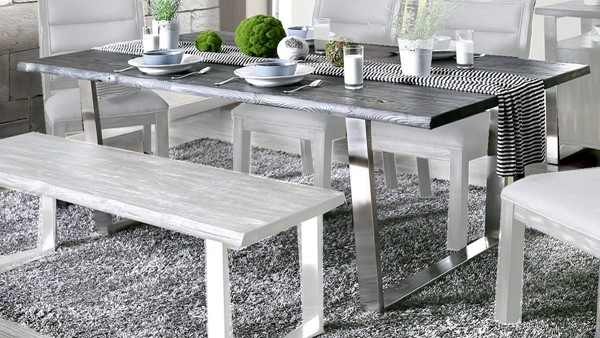 Furniture of America Mandy Antique Gray Dining Table FOA-CM3451GY-T-TABLE
