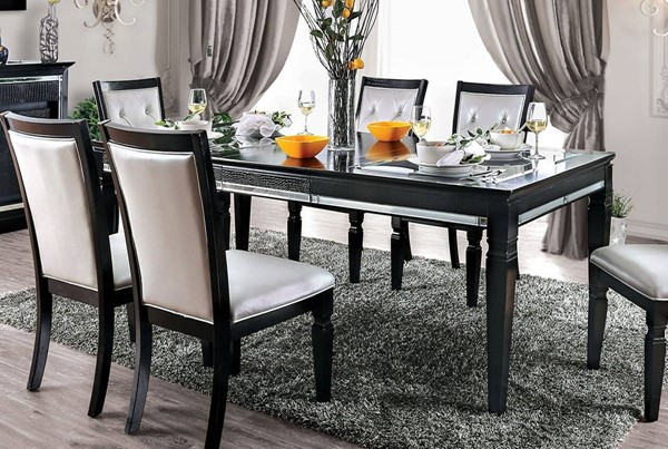 Furniture of America Alena Black 9pc Dining Room Set FOA-CM3452BK-T-9PC