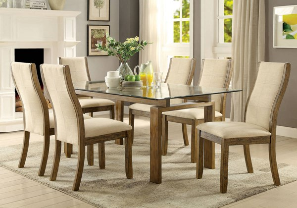 Onway Contemporary Oak Solid Wood Beige Fabric Glass Dining Room Set FOA-CM3461-DR