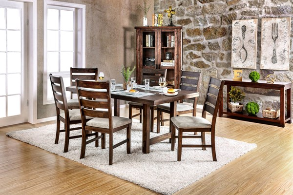 Wallis Transitional Walnut Beige Fabric Solid Wood Dining Room Set FOA-CM3463-DR