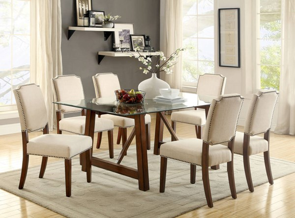 Osburn Brown Cherry Solid Wood Ivory Fabric Dining Room Set FOA-CM3464-DR