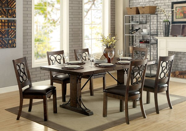 Paulina Rustic Walnut Solid Wood Brown Leatherette Dining Room Set FOA-CM3465-DR