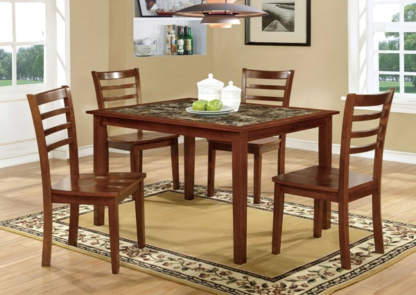 Fordville I Antique Oak Solid Wood Faux Marble 5pc Dining Room Set FOA-CM3521T-5PK
