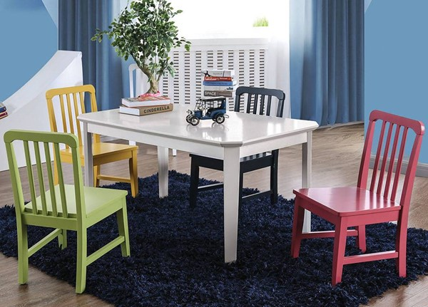 Furniture of America Casey White 5pc Kids Table Set FOA-CM3526T-5PK-3A3