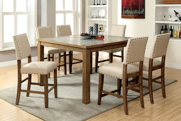 Melston I Transitional Natural Tone Solid Wood Fabric Dining Room Set FOA-CM3531-DR