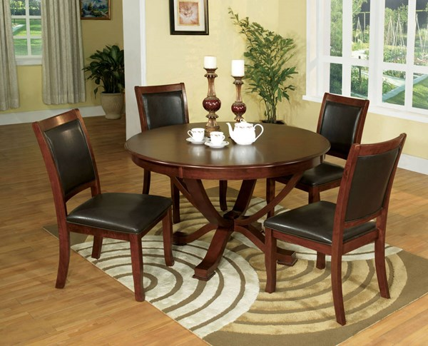 Sandy Point Cherry Brown Leatherette Solid Wood Dining Room Set FOA-CM3532-DR