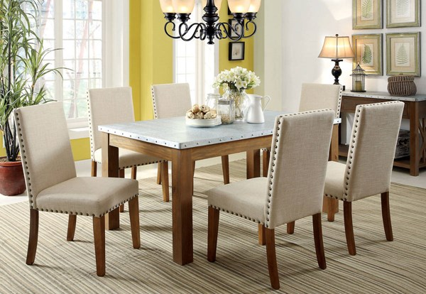 Walsh Industrial Natural Tone Fabric Solid Wood Iron Dining Room Set FOA-CM3535-DR