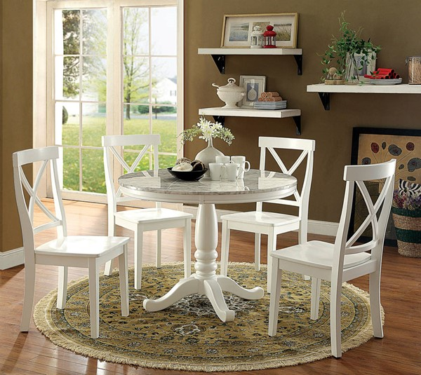 Penelope Transitional White Solid Wood Faux Marble Dining Room Set FOA-CM3546-DR