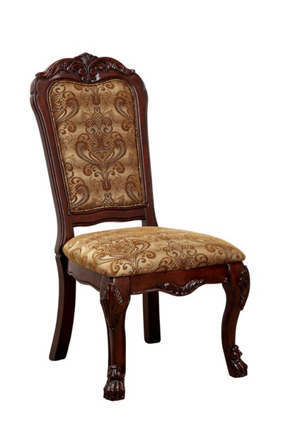 2 Furniture of America Medieve Cherry Side Chairs FOA-CM3557CH-SC-2PK
