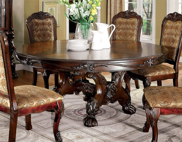 Furniture of America Medieve Cherry Round Dining Table FOA-CM3557CH-RT-TABLE