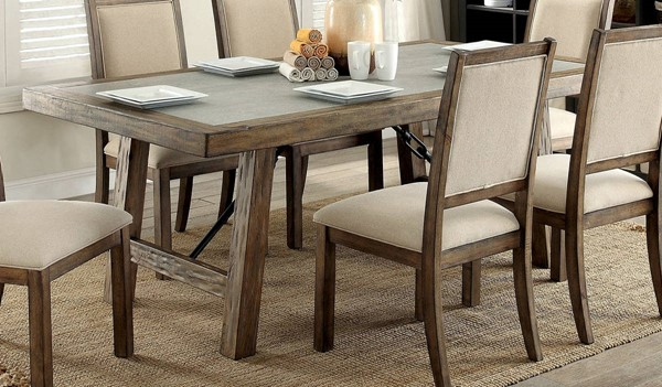 Furniture of America Colette Rustic Oak 78 Inch Dining Table FOA-CM3562T-78