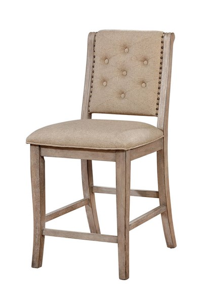 2 Furniture of America Ledyard Rustic Natural Counter Height Chairs FOA-CM3576PC-2PK