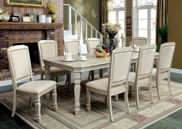 Holcroft Transitional Antique White Solid Wood Fabric Dining Room Set FOA-CM3600-DR