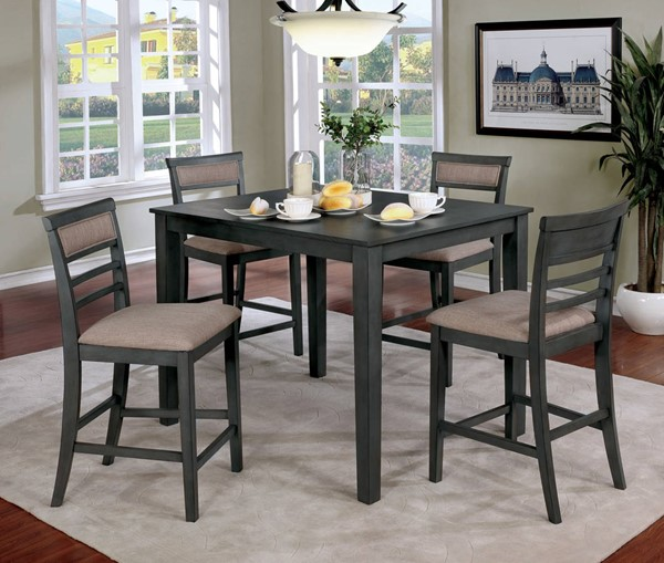 Furniture of America Fafnir Gray 5pc Counter Height Table Set FOA-CM3607PT-5PK