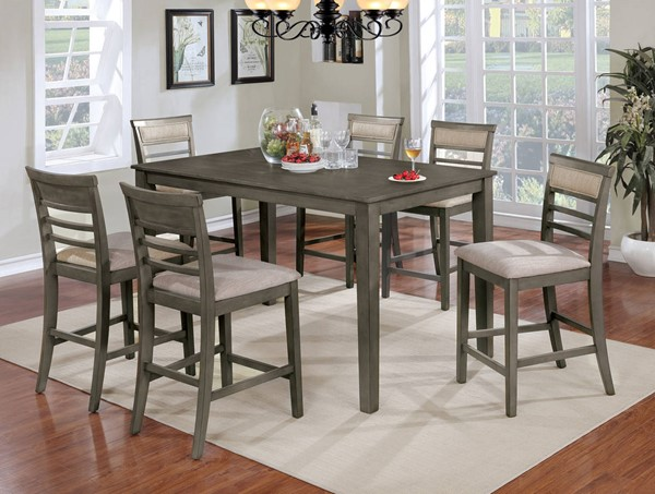 Furniture Of America Fafnir Gray 7pc Counter Height Table