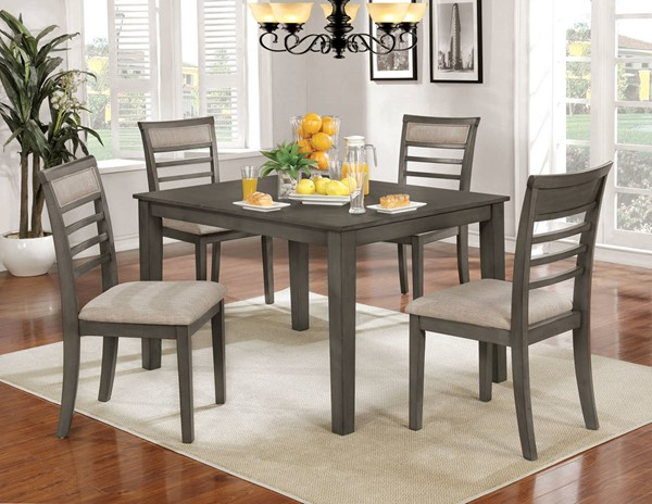 Furniture of America Fafnir Weathered Gray 5pc Dining Table Set FOA-CM3607T-5PK