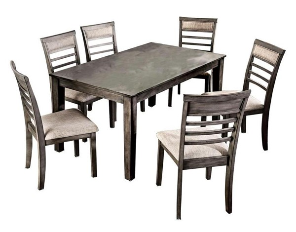 Furniture of America Taylah Weathered Gray 7pc Dining Room Set FOA-CM3607T-7PK