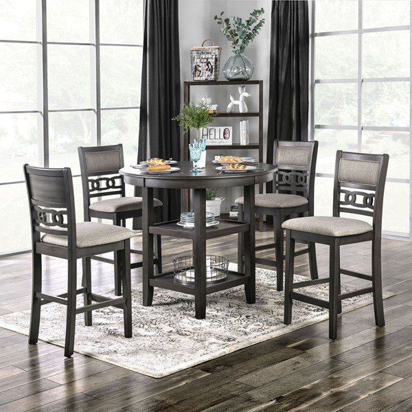 Furniture Of America Milly Gray 5pc Counter Height Set FOA-CM3609PT-5PK